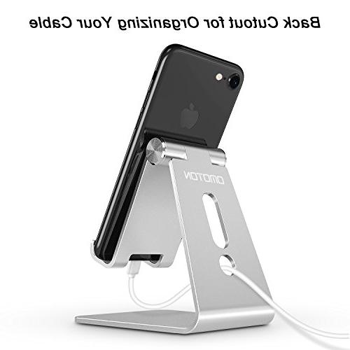Adjustable OMOTON Aluminum Cellphone Stand with Anti-Slip and Charging Fits Silver