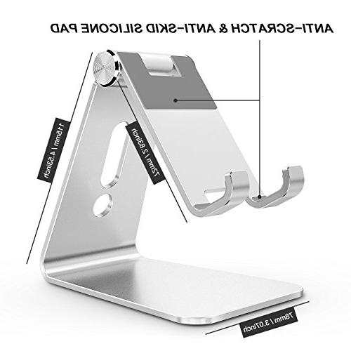 Adjustable OMOTON Aluminum Desktop Stand with and Port, Fits Silver