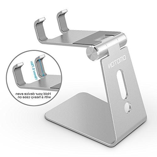 Adjustable Cell Stand, OMOTON Aluminum Desktop Cellphone Stand Base Fits Smart Silver
