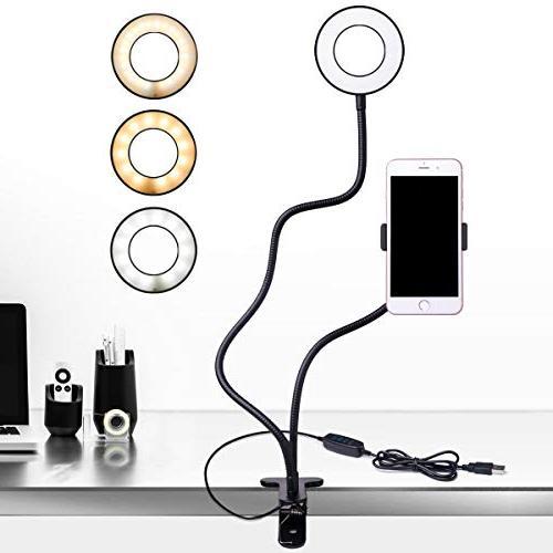 B-Land Cell Phone Holder with Selfie Ring Light for Live Str