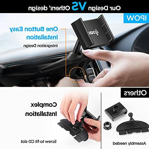 Upgraded IPOW Button Installation Slot Phone Holder Clamp, IPOW Car Mount Stand Compatible iPhone 7P 6 6P 5S, Galaxy S8 S7 S6 S5 S4, Google,