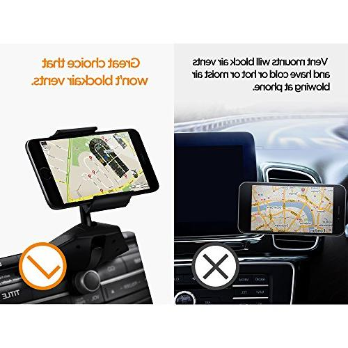 Upgraded One Installation CD Slot Holder with Clamp, IPOW Car Stand with iPhone 7P SE 6s 6P Google, LG
