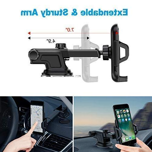 VANMASS Car Dashboard Windshield Cell Holder One-Touch Cradle with iPhone Xs Max X 8 7 S8 S9, LG V20