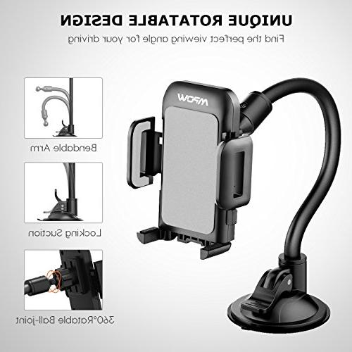 Mpow Cell Phone for Car, Windshield Long Arm Car Mount with One and Anti-Skid Holder Compatible MAX/XS/XR/X/8/7/7P/6s,Galaxy S5/S6/S7/S8,Google,LG,Huawei