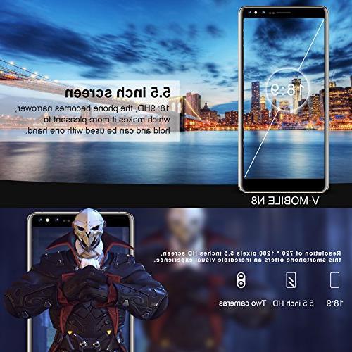 Unlocked Cell Phones, mobile N8-N Unlocked Smartphones Android 5.5 inch |1 + GB|5.0 8.0 MP| GSM ATT, Tmobile, Black