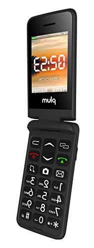 Plum Flipper - Screen Big Keypad Radio Camera Tmobile MetroPCS Simple Straight Talk - Black