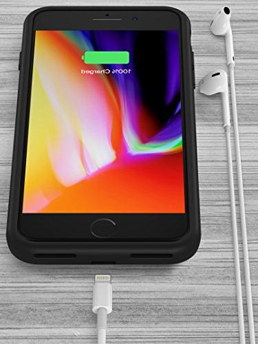 PowerBear iPhone 7 Battery Case Capacity Rechargeable Charger - Black