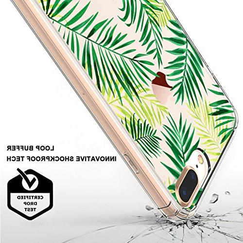 iPhone Plus iPhone 7 Fashion iPhone Plus Case, MOSNOVO Leaves Clear Design Case with Case 7 Plus 8