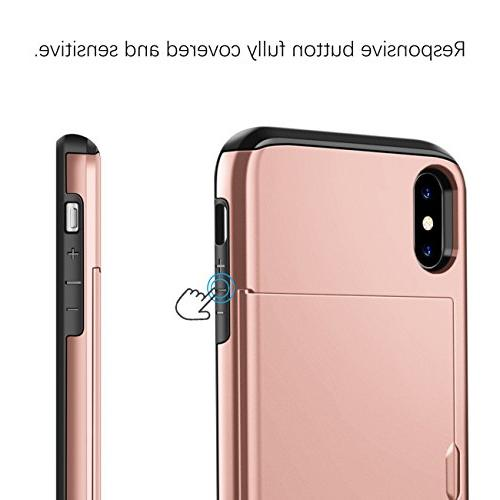 SAMONPOW iPhone X Wallet Case Protection Shockproof Soft Case for iPhone X -