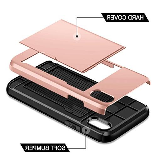 SAMONPOW iPhone 10 Case,Hybrid iPhone X Protection Shockproof Anti-Scratch Soft Case for - Rose Gold