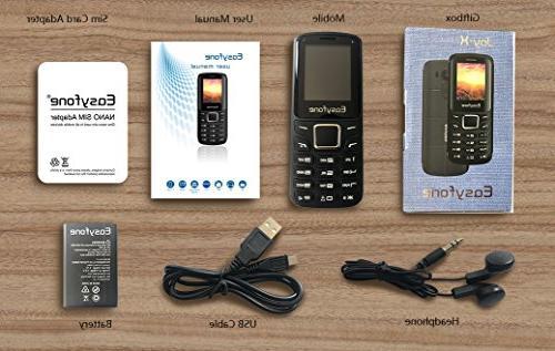 Easyfone Joy-X Dual-SIM Unlocked VGA-Camera and TP Glass, SIM-Free GSM Worldwide Phone Bluetooth and MicroSD Slot