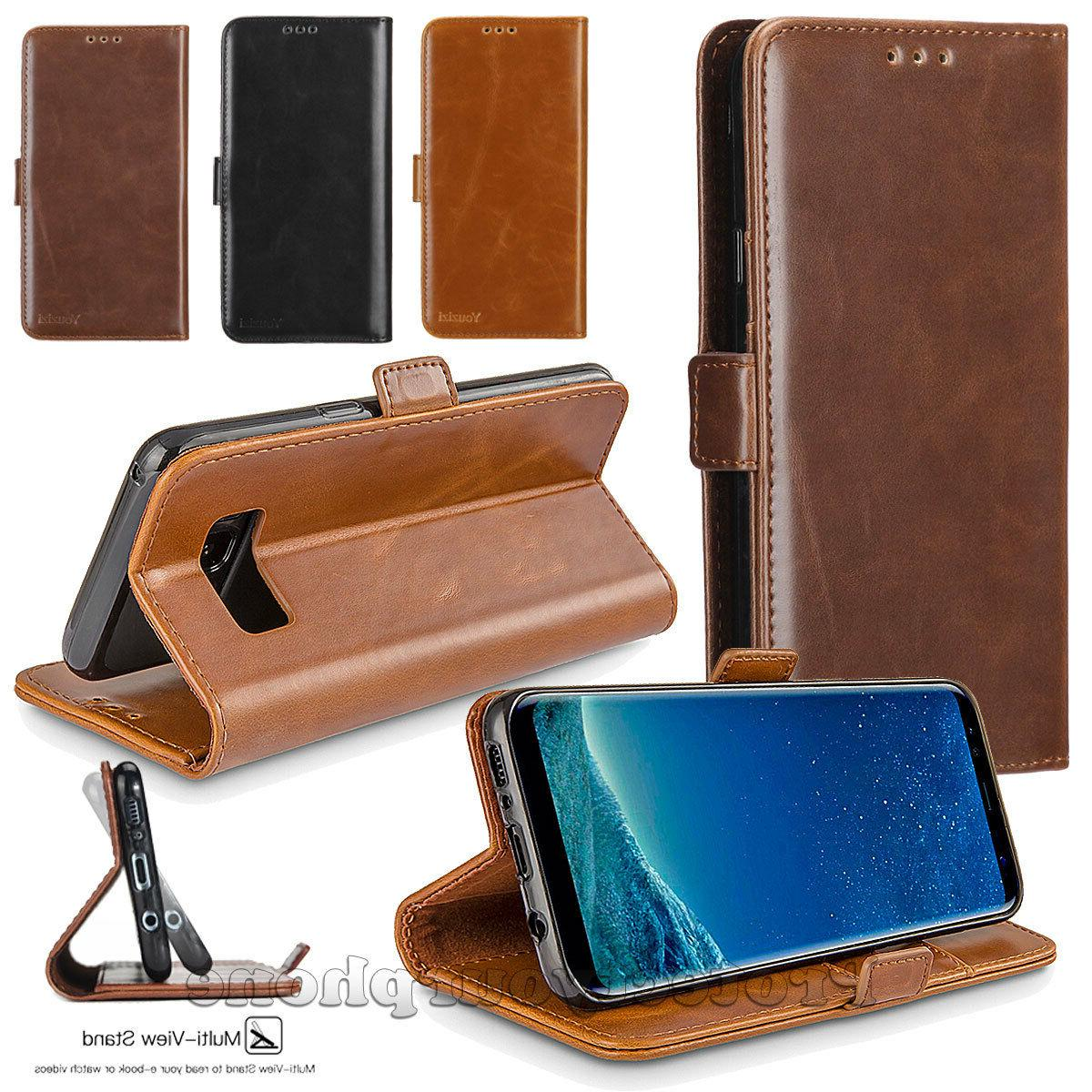 luxury leather magnetic flip wallet case stand
