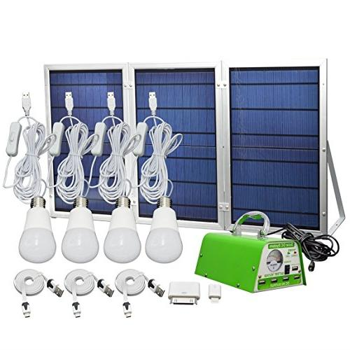 HKYH Lighting Kit, Solar DC System USB Solar with 4 LED Emergency Light Mobile Charger/5V 2A Output Can Power Bank