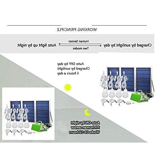 Panel Lighting Kit, DC System Kit, Solar 4 LED Light Emergency and Mobile Phone Charger/5V Output Can Power Bank