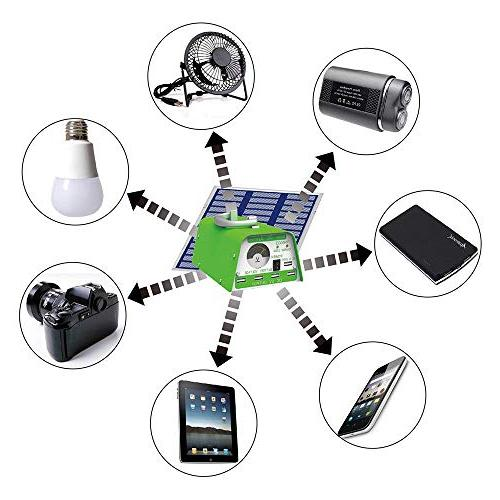 HKYH DC System Kit, USB Solar with LED Bulb Emergency Light Mobile Phone 2A Output Can Bank