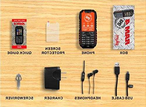 Rugged Cell GSM Waterproof Battery Military IP68 Black Orange