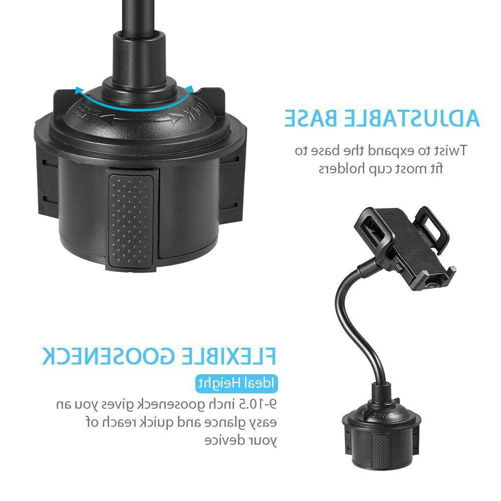 Universal 360° Adjustable Mount Gooseneck Cup Holder Cradle Cell Phones