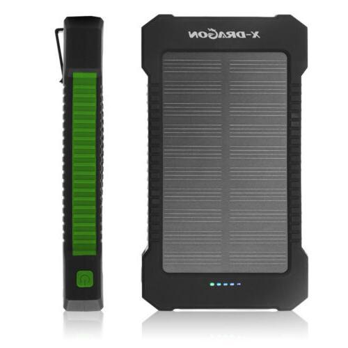 waterproof 100000mah 2usb solar power bank pack