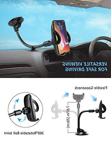 Mpow Windshield Car Phone Holder for Car, Arm Car Phone Mount Compatible iPhone Plus, Galaxy LG, Huawei