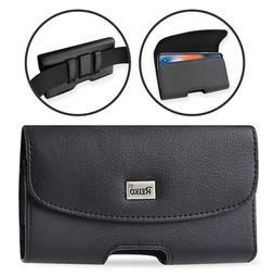 REIKO Leather Carrying Sideways Belt Clip Case Pouch Holster