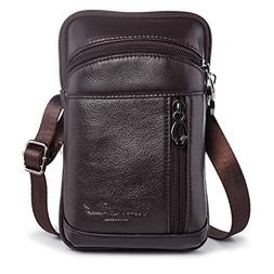 Hengwin Leather Crossbody Shoulder Bags Men Belt Clip Phone