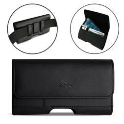 Agoz Leather Sideways Belt Clip Pouch with Credit Card Slot