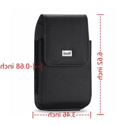 Reiko Leather Vertical Phone Pouch With Metal Logo For iPhon