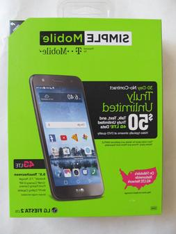 Simple Mobile LG Fiesta 2 4G LTE Prepaid Smartphone with Fre