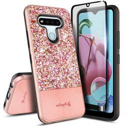 For LG K51 / LG Reflect Case Glitter Bling Phone Cover +Temp