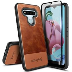 For LG Stylo 6 Case, Shockproof Leather Phone Cover + Temper