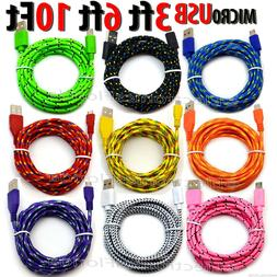LOT Braided Micro usb data sync cable cord 3,5,10 FT for And