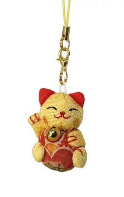 lucky cat smartphone cell phone charm yellow