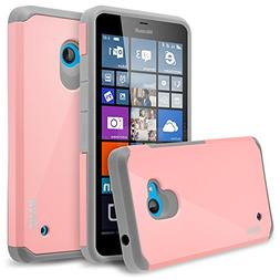 Lumia 640 Case, RANZ Grey with Pink Hard Impact Dual Layer S