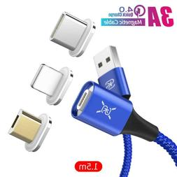 Magnetic Cable 3A Type C / Micro USB Fast Charger For Androi