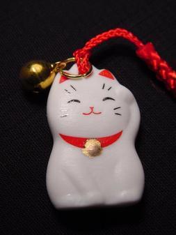 MANEKI NEKO Beckoning Cat Cell Phone Strap Keychain Charm wi