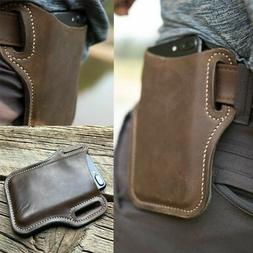 Men Leather Cell Phone Waist Pack Loop Holster Case Pouch Be