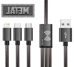 The 1st And Only Metal Braided Multi USB Charging Cable 4 ft