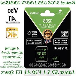 32GB Micro SD SDHC V30 A1 Memory Card Plus Adapter Pack  Amp