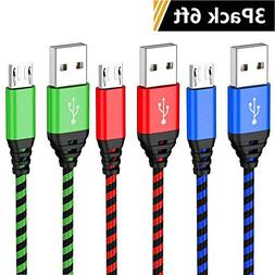 Micro USB Cable Android Charger, Powcord 3 Pack 6ft Micro US