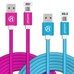 Micro USB Cable RENYANG 2Pack Nylon Braided Fast Charge Data