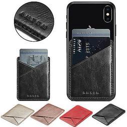 Mobile Phone Leather Credit Card Wallet Holder Pocket Stick-