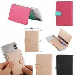 Mobile Phone Leather Wallet Credit ID Card Holder Pocket 3M