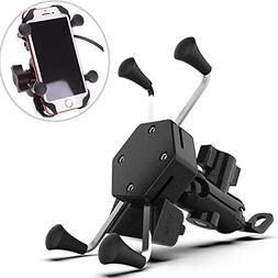 Motorcycle Phone Mount Clamp with USB Charger Port, Phone Ho