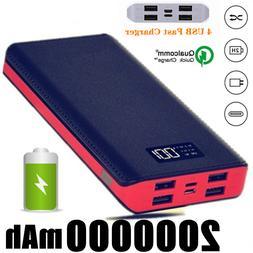 NEW 2000000mAh Portable Power Bank LCD 4USB Battery Charger