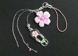 New Cell Phone Charm Strap For Mobile Pink Enamel Flower Cry