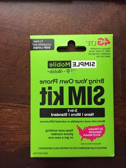NEW SIMPLE MOBILE SIM CARD FITS ALL PHONES T-MOBILE NETWORK,