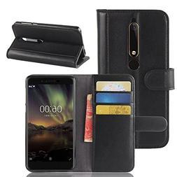 Nokia 6.1 Case,Nokia 6 2018 Case,Mangix Genuine Leather Wall