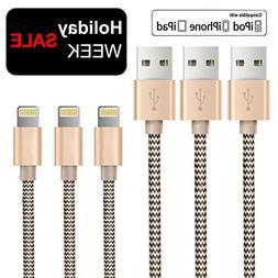 OTISA 3Pack 5Ft Nylon Braided Lightning Compatible Cable wit