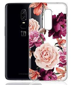 Oneplus 6 Case, OnePlus 6 with flowers BAISRKE Slim Shockpro