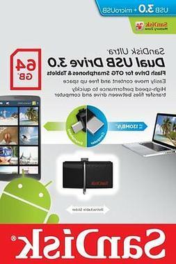SanDisk 64GB 64G OTG USB 3.0 130MB/s Ultra Dual microUSB Fla